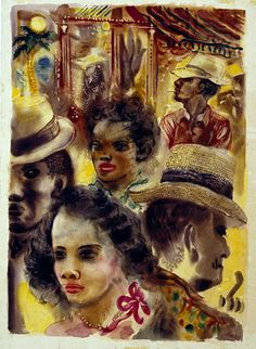 """George Grosz (German) - """"A Glimpse into the Negro Section of Dallas"""" (1952). Watercolor; Overall: 26 1/4 x 19 in. (66.675 x 48.26 cm). Dallas Museum of Art"""