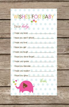 Elephant Collection Baby Shower Game  Wishes for by TwoTinyLoves.... What's great item to add to a scrapbook.
