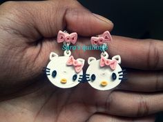 Quilled hello kitty earrings
