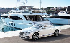 Download wallpapers Bentley Continental GT, 2017, Convertible Galene Edition, White luxury convertible, luxury yacht, white Continental, Bentley