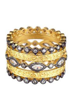Belargo Wide 5-Row CZ Byzantine Ring 14k gold plate
