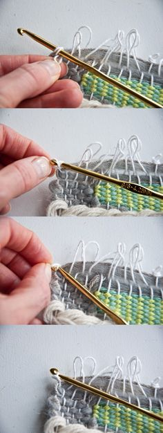 Tying Loops to Hang a Weave The Weaving Loom Pin Weaving, Tablet Weaving, Weaving Art, Loom Weaving, Weaving Textiles, Weaving Patterns, Tapestry Loom, Weaving Wall Hanging, Wall Hangings