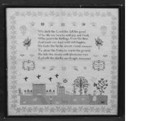 Sampler, early 19th century verse Adam & Eve needlework, large central verse, a line of Cupid and star motifs above.