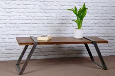 Black Walnut and Raw Steel Modern Industrial Coffee Table / Bench, Industrial chic by escafell on Etsy https://www.etsy.com/uk/listing/468586581/black-walnut-and-raw-steel-modern