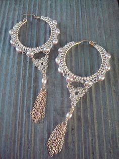 Crocheted Wire Hoops two tone Gold & Silver with by dragonswire, $84.00