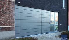 L-Door Puma Line STX facade sectional garage door with Trespa cladding.