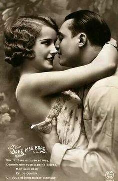 good morning my equisite rose, french postcard Vintage Kiss, Vintage Couples, Photo Vintage, Vintage Romance, Romantic Couples, Vintage Beauty, Romantic Pictures, Vintage Pictures, Old Pictures