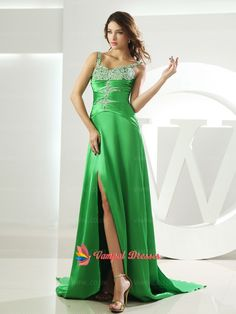 148.00$  Watch now - http://viqna.justgood.pw/vig/item.php?t=ebkpfnd37418 - Bright Green Spaghetti Strap Pleated Beaded Bodice Long Prom Dresses With Split