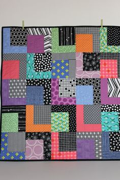 "Modern Baby Quilt ""Robbie""; Contemporary; Geometric; Bright Colors; Baby Quilt; Lap Quilt; Play Mat; Wall Hanging; Gender Neutral"