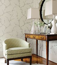 Buds & Anafi from Shangri-La Thibaut Cherry Blossom wallpaper Eclectic Living Room, Modern Traditional, Wall Treatments, Wall Wallpaper, Home And Living, Entryway Tables, Console Tables, Upholstery, House Design