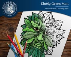 Green Man Coloring Page, Celtic Myth and Magic, Pagan Art, Digital Download