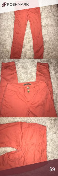 Light orange skinny jeans Add some fun & color to any outfit! Light, stretchy (COMFORTABLE) material allows you to move & breathe, wears like a jegging. Runs a tiny bit on the small side. refuge Jeans Skinny