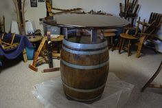 Idaho Creations Wine Barrel Furniture. Whole barrel raised bar.