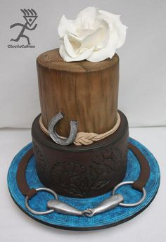 Horse Inspired Cake...with tooled leather effect - Cake by Ciccio