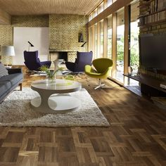 Diy bedroom entertainment center modern living room with yellow brick walls purple accent chairs oak palazzo Flooring, Bedroom Diy, Bedroom Entertainment Center, Decor, Contemporary Living, Interior, Engineered Wood Floors, Home Decor, Floor Design