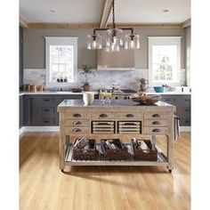 Add a touch of traditional rustic style to your home with the Kosas Home Deni Washed Grey Blue Stone and Reclaimed Pine Kitchen Island.This castered kitchen island allows you to conveniently store sev Stone Kitchen Island, Country Kitchen Island, Portable Kitchen Island, Kitchen Islands, Pine Kitchen, Kitchen Dining, Kitchen Decor, Wooden Kitchen, Kitchen Colors