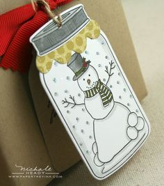 Tag by Nichole Heady [Papertrey Ink (dies) Jar & Lid, Jar Toppers; Wrapping Ideas, Christmas Gift Tags, Christmas Cards, Christmas Snowman, Scrapbook Cards, Scrapbooking, Scrapbook Photos, Mason Jar Tags, Pot Mason