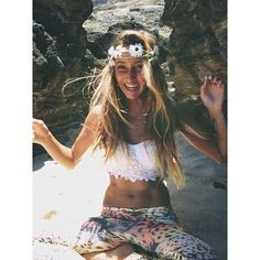Contemporary hippie pants and flower headband with gypsy crochet lace embellished bralette boho chic top. FOLLOW this board now > http://www.pinterest.com/happygolicky/the-best-boho-chic-fashion-bohemian-jewelry-gypsy-/ for the BEST Bohemian fashion trends for 2015.
