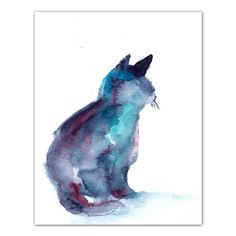 Cat Silhouette Watercolor Painting Art Print, Cat art, Watercolour Modern Art, Blue