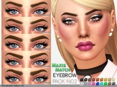 The Sims Resource: Maxis Match Eyebrow Pack N02 by Pralinesims • Sims 4 Downloads