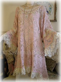 Antique Style Edwardian Downton Gatsby 20s Tunic by savannahparker, $345.00 Vintage Lace, Vintage Pink, Pretty Clothes, Pretty Outfits, Lolita Fashion, Boho Fashion, Vintage Clothing, Vintage Outfits, Lace Silk