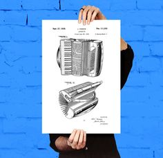 Accordion Patent, Accordion Poster, Accordion Print, Accordion Art, Accordion Decor, Accordion Blueprint, Accordion Musical Instrument by STANLEYprintHOUSE  1.00 USD  This poster is printed using high quality archival inks, and will be of museum quality. Any of these posters will make a great affordable gift, or tie any room together.  Please choose between different sizes and colors.  These posters are shipped in mailing tubes via USPS First Clas ..  https://www.etsy.com/ca/listin..
