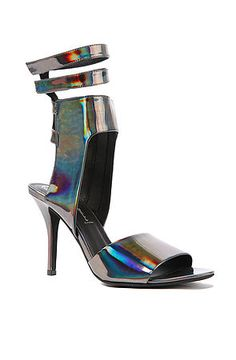 The Skymax Shoe in Pewter Hologram by Jeffrey Campbell