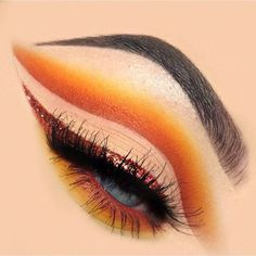 Another pic of this autumn/fall sunset cut crease, with a copper glitter wing. . . . . . For brows I used @anastasiabeverlyhills dipbrow in Ebony and then set with the @benefitcosmetics Ready Set Brow gel; I used @katvondbeauty Lock It concealer in L01 to carve out my brows and as an eyeshadow base as it's very pale so it makes bright colours really vibrant; eyeshadows are the the @juviasplace Zulu palette (yellow and orange), and @shophudabeauty Desert Dusk palette (Desert Sand, Eden…