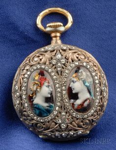 Bogoff antique pocket watches patek philippe enamel and diamond renaissance revival enamel and diamond pocket watch mozeypictures Images
