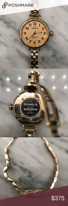 Shinola women's Birdy gold 34mm watch Shinola gold Birdy watch   Case size: 34mm Deployant buckle closure Water resistant to 5 ATM Swiss Argonite 775 movement, 3 hands with date window, gold-tone dial, gold-tone case and bracelet strap Limited lifetime warranty Stainless steel/gold-tone plate Made in USA of Imported Materials Shinola Accessories Watches