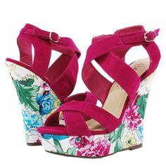 Pink floral wedges