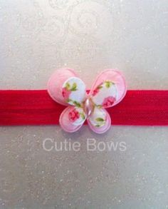 This lovely soft elastic features a 2 layered butterfly. As I use soft elastic, these are suitable for newborns and upwards. Various colours are available