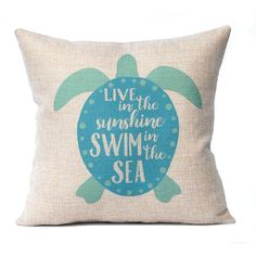 Sea Turtle Pillow Cover Beach Decor Turquoise Faux Burlap Pillow Cover... (€18) ❤ liked on Polyvore featuring home, home decor, throw pillows, decorative pillows, home & living, home décor, silver, beach throw pillows, turquoise toss pillows and beach home decor