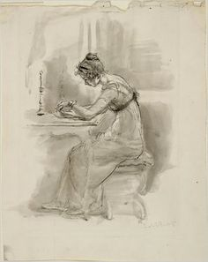 """""""Scene from Pride and Prejudice [by Jane Austen]: 'The examination of all the letters which Jane had written to her.'"""" Pen and black ink, gray wash, over pencil. The Morgan Library & Museum. Photography by Schecter Lee, Vanessa Bell, Virginia Woolf, Bronte Sisters, Jane Austen Novels, Becoming Jane, Morgan Library, Pride And Prejudice, Illustrators, Sketches"""