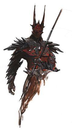 Black Guard of Sauron's fortress Barad-dur Monster Concept Art, Fantasy Monster, Monster Art, Fantasy Character Design, Character Inspiration, Character Art, Fantasy Armor, Medieval Fantasy, High Fantasy
