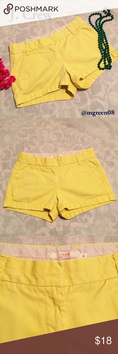 "Sale J. Crew Chino Shorts J. Crew yellow broken in chino shorts. Front pockets with 2 back pockets (right side button closure only) and belt loops. 3"" inseam. 100% cotton. J. Crew Shorts"