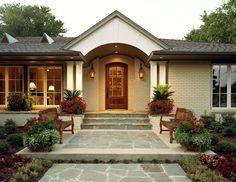 Ranch House Remodel - Dallas Texas Residential Home Design Architect, Lyons… Ranch Exterior, Modern Farmhouse Exterior, Exterior Remodel, Bungalow Exterior, Bungalow Homes, Ranch Style Homes, House Design Photos, Cool House Designs, Lyon