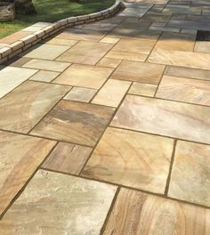 Mint Fossil Sandstone is a stunning Indian Stone Paving featuring beautiful natural fossil detaiing! From just with FREE* Delivery! See more! Indian Sandstone Paving Slabs, Slate Paving, Paving Stones, Garden Sitting Areas, Patio Kits, Paver Designs, Paving Ideas, Patio Slabs, Garden Paving