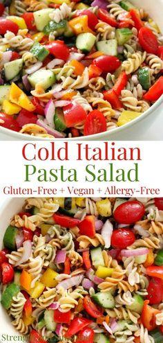 Healthy Pasta Salad, Healthy Pastas, Healthy Recipes, Pasta Salad Gluten Free, Easy Cold Pasta Salad, Pasta Salad Recipes Cold, Cold Pasta Dishes, Cold Side Dishes, Healthy Pasta Dishes