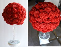 DIY- Beautiful paper roses centerpiece. Looks like a wine glass was used. Glitter on the stem would be pretty.