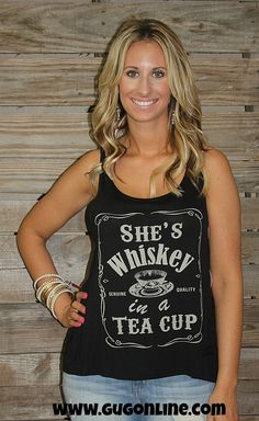 Whiskey in a Teacup Tank in Black $19.95 Small-Large  www.gugonline.com