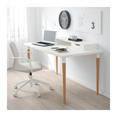 LINNMON / HILVER Tisch, Weiß, Bambus