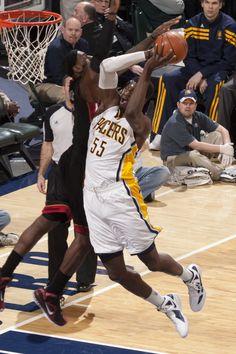 Roy Hibbert battles against the Miami Heat's LeBron James.