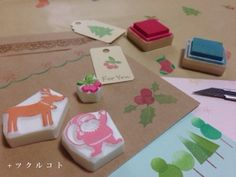 Gomme à graver thème Noël exemples japonais.