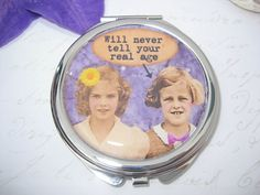 Compact Mirror with Retro Friends by RubysNeedfulGifts on Etsy.