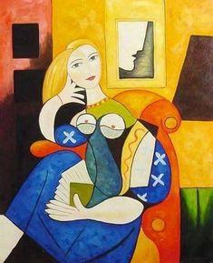 """""""Femme lisant"""" Peinture de l'artiste espagnol Pablo Picasso (1881-1973)"""