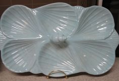 Coastal Home Tableware- Sea Shell Divided Platter in Speckled Blue