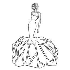 Fashion Design Drawings, Fashion Sketches, Fashion Illustrations, Geometric Dress, Fashion Templates, Fashion Figures, Dress Shapes, Drawing Clothes, Texture Art