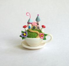 Miniature   Fairy House Colony in a Teacup  OOAK by ArtisticSpirit, $45.00