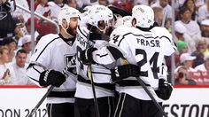 Kings celebrate after the overtime goal as they defeat the Phoenix Coyotes in 5 games to win the Western Final May 22nd